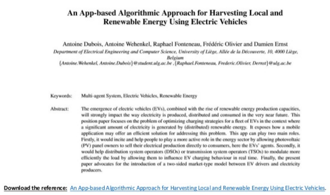An App-based Algorithmic Approach for Harvesting Local and Renewable Energy Using Electric Vehicles.